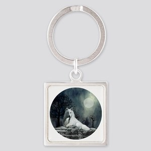 White Wolf and Pup Square Keychain