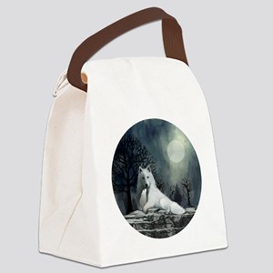 White Wolf and Pup Canvas Lunch Bag