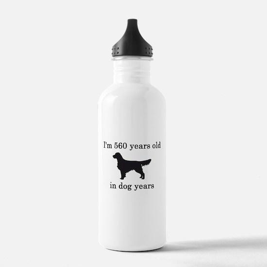 80 birthday dog years golden retriever Water Bottl