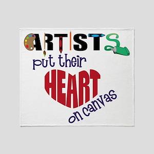 Artists Put Their Heart on Canvas Throw Blanket
