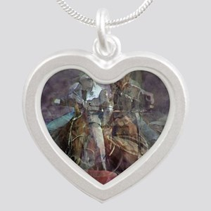 Barrel Racing Competition Silver Heart Necklace