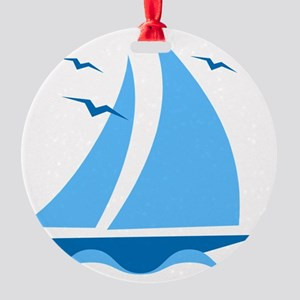 Blue Sailboat Round Ornament