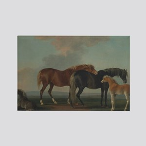 Mares and Foals Rectangle Magnet