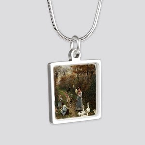 Vintage Painting of Ladies Silver Square Necklace