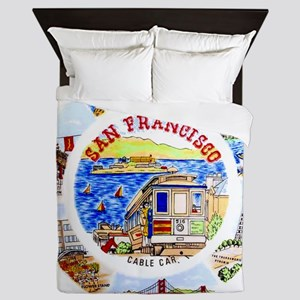 Vintage San Francisco Souvenir Graphic Queen Duvet