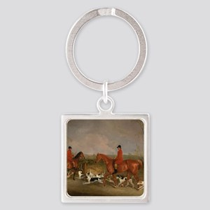 Hunters on Horses with Their Dogs Square Keychain