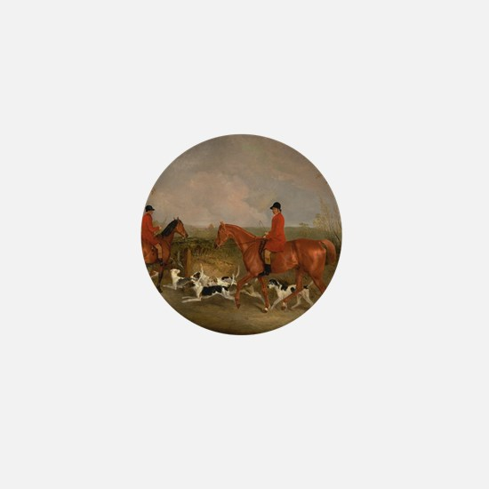 Hunters on Horses with Their Dogs Mini Button