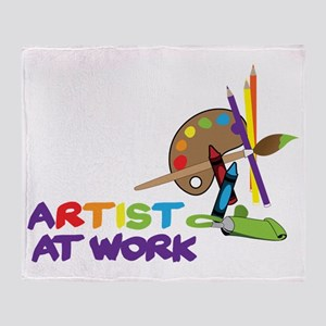 Artist At Work Throw Blanket