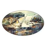 Trellis Bridge by Elsie Batze Oval Sticker