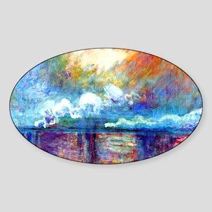 Monet Charing Cross Bridge Sticker (Oval)