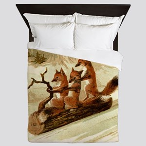 Winter Foxes Sledding Queen Duvet