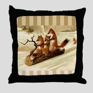 Winter Foxes Sledding Throw Pillow
