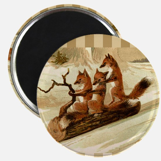 Winter Foxes Sledding Magnet