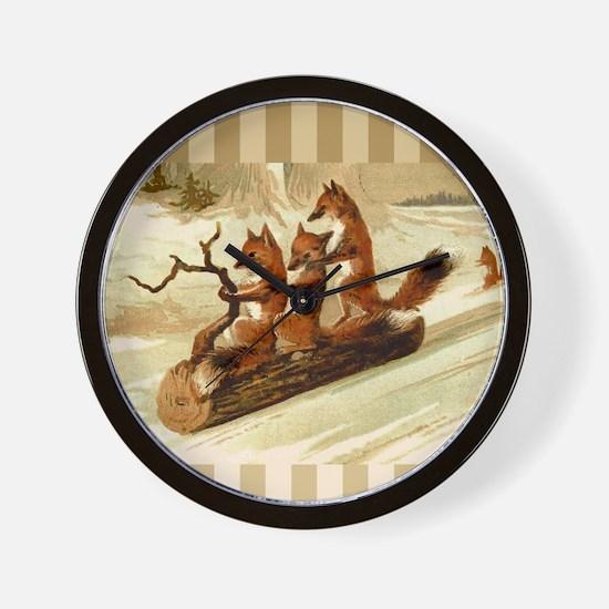 Winter Foxes Sledding Wall Clock