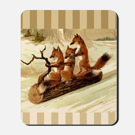 Winter Foxes Sledding Mousepad