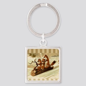 Winter Foxes Sledding Square Keychain