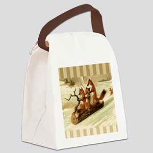 Winter Foxes Sledding Canvas Lunch Bag