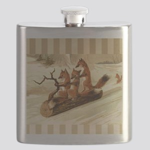 Winter Foxes Sledding Flask