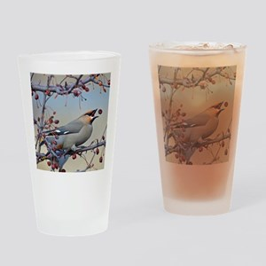 Bohemian waxwing 9x12 print Drinking Glass