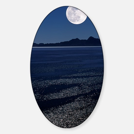 Moonrise over sea Sticker (Oval)