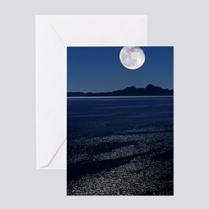 Moonrise over sea Greeting Card