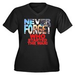 Never Forget Who Wmns Plus Sz V-Neck Dark Tee