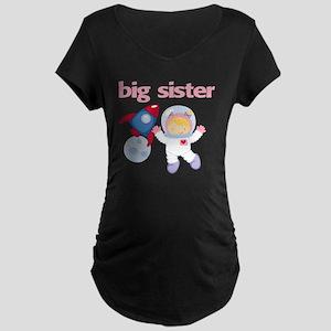 Astronaut Big Sister Maternity Dark T-Shirt