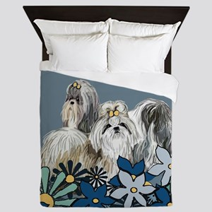 Shih Tzus In The Garden Queen Duvet