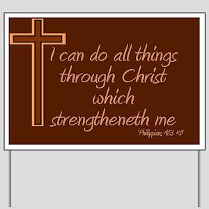 Philippians 4 13 Cross Brown Yard Sign