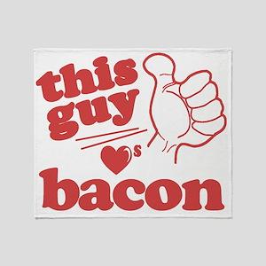 Guy Loves Bacon Throw Blanket