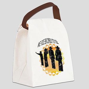 ride em cowboy in white Canvas Lunch Bag