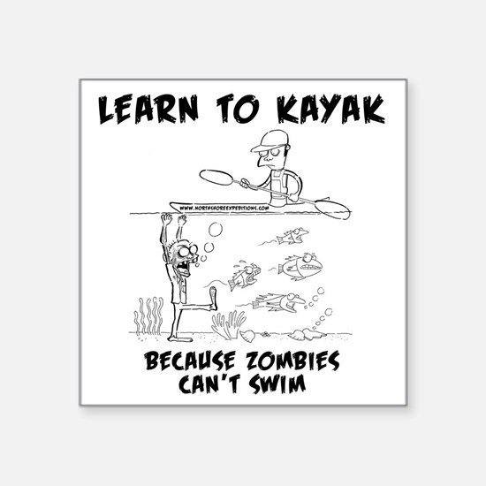"Zombie vs. Kayaker Square Sticker 3"" x 3"""