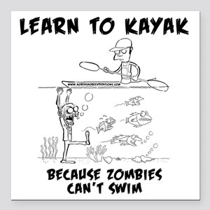 "Zombie vs. Kayaker Square Car Magnet 3"" x 3"""