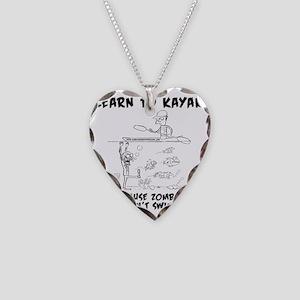 Zombie vs. Kayaker Necklace Heart Charm