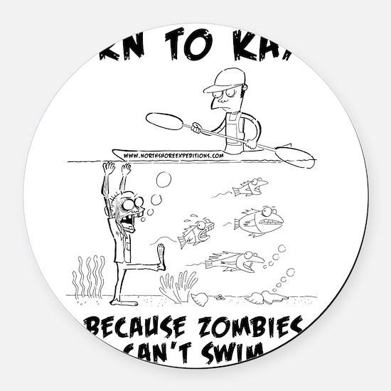 Zombie vs. Kayaker Round Car Magnet