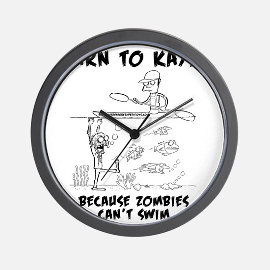 Zombie vs. Kayaker Wall Clock