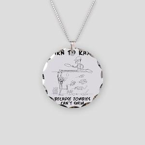 Zombie vs. Kayaker Necklace Circle Charm