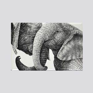 African Elephants Rectangle Cockt Rectangle Magnet