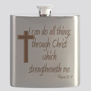 Philippians 4 13 Brown Cross Flask