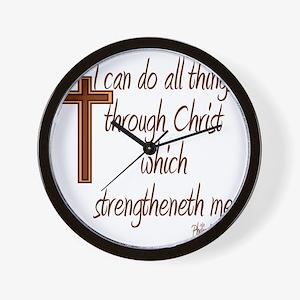 Philippians 4 13 Brown Cross Wall Clock