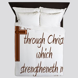 Philippians 4 13 Brown Cross Queen Duvet