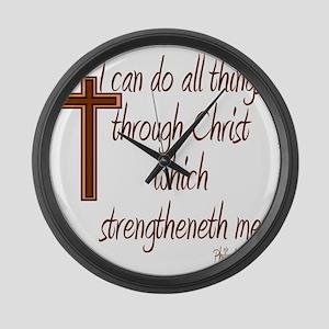 Philippians 4 13 Brown Cross Large Wall Clock