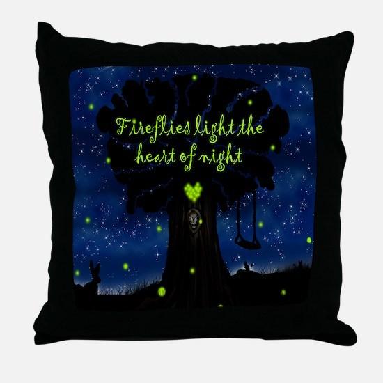 Fireflies light the heart of night SB Throw Pillow