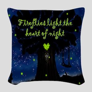 Fireflies light the heart of n Woven Throw Pillow