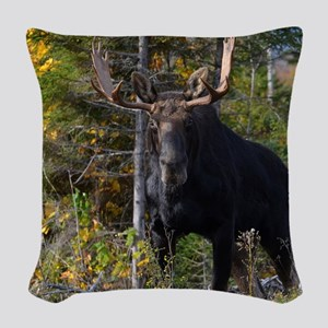 Moose in ditch 2 11x11 pillow Woven Throw Pillow