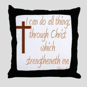Philippians 4 13 Brown Cross Throw Pillow