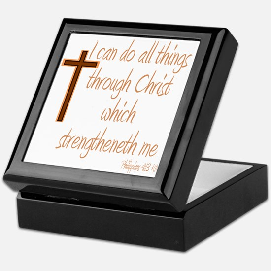 Philippians 4 13 Brown Cross Keepsake Box