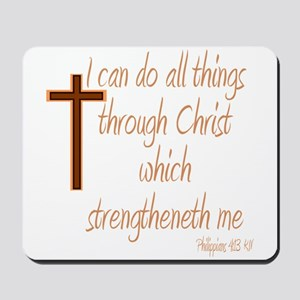 Philippians 4 13 Brown Cross Mousepad