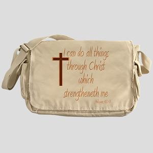 Philippians 4 13 Brown Cross Messenger Bag
