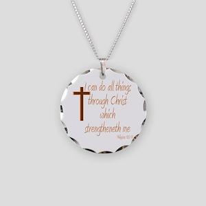 Philippians 4 13 Brown Cross Necklace Circle Charm